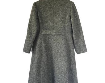 ON SALE 70s 80s Wool Coat, Perfect Vintage Tweed Wool Long A-line Coat, Bromleigh Coat, Size Small