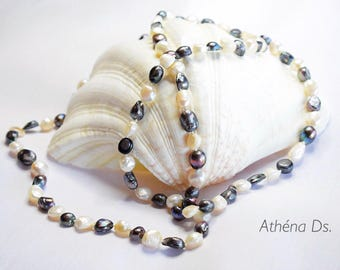 Elegant/Pearl necklace/Jewel/Long necklace/Pearls/Necklace/White/Black/Noir/Fashion/Gift/Chic