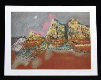 Sedona Arizona Art Card, Gibraltar Rock, Plein Air Pastel by Karlene Voepel