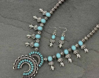 Turquoise Western Metal Squash Blossom Necklace Set-LSN3306SSOTQS008
