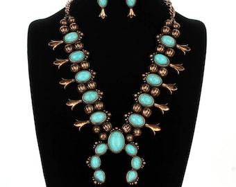 Navajo Squash Blossom Necklace Set- SS0095CBTQ001866