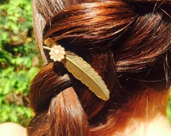 Bronze Feather Hair Clip with Pearls