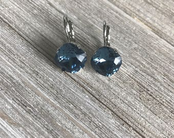 Genuine Swarovski Crystal Earrings, Denim Blue, 12 mm