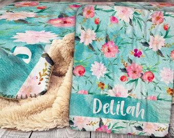 Personalized Blanket - Sherpa Throw Blanket -  Floral Pattern Blanket - Flower Blanket - Personalized Name Blanket - Baby Blanket - Sherpa