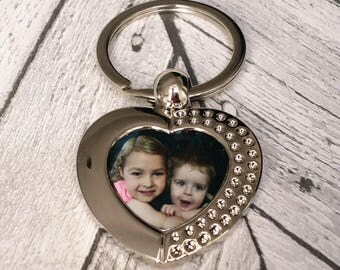 Personalised Heart Photo Metal Keyring Silver Colour Ideal Christmas Gift
