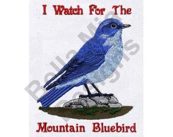 Bird - Machine Embroidery Design, Mountain Bluebird, Bluebird