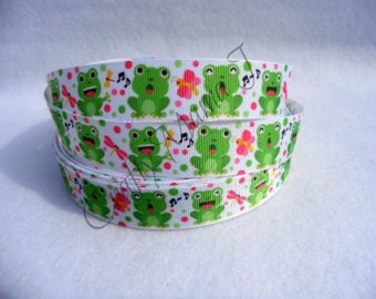 "Frogs and bugs with Polka Dots on White 7/8"" Grosgrain Ribbon by the yard. Choose between 3/5/10 yards."