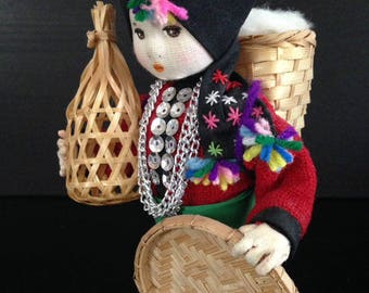 Vintage & Handmade House of Handicrafts Doll, Black Tai, Made by Youthana, Thailand