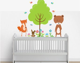Forest Wall Decals   Woodland Wall Decals   Forest Animal Decals   Fox Decal    Bear