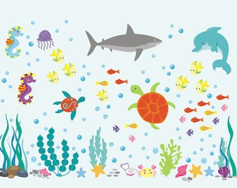 Ocean Wall Decals   Under The Sea Decals   Marine Life Decals   Wall Decals  Nursery Part 35