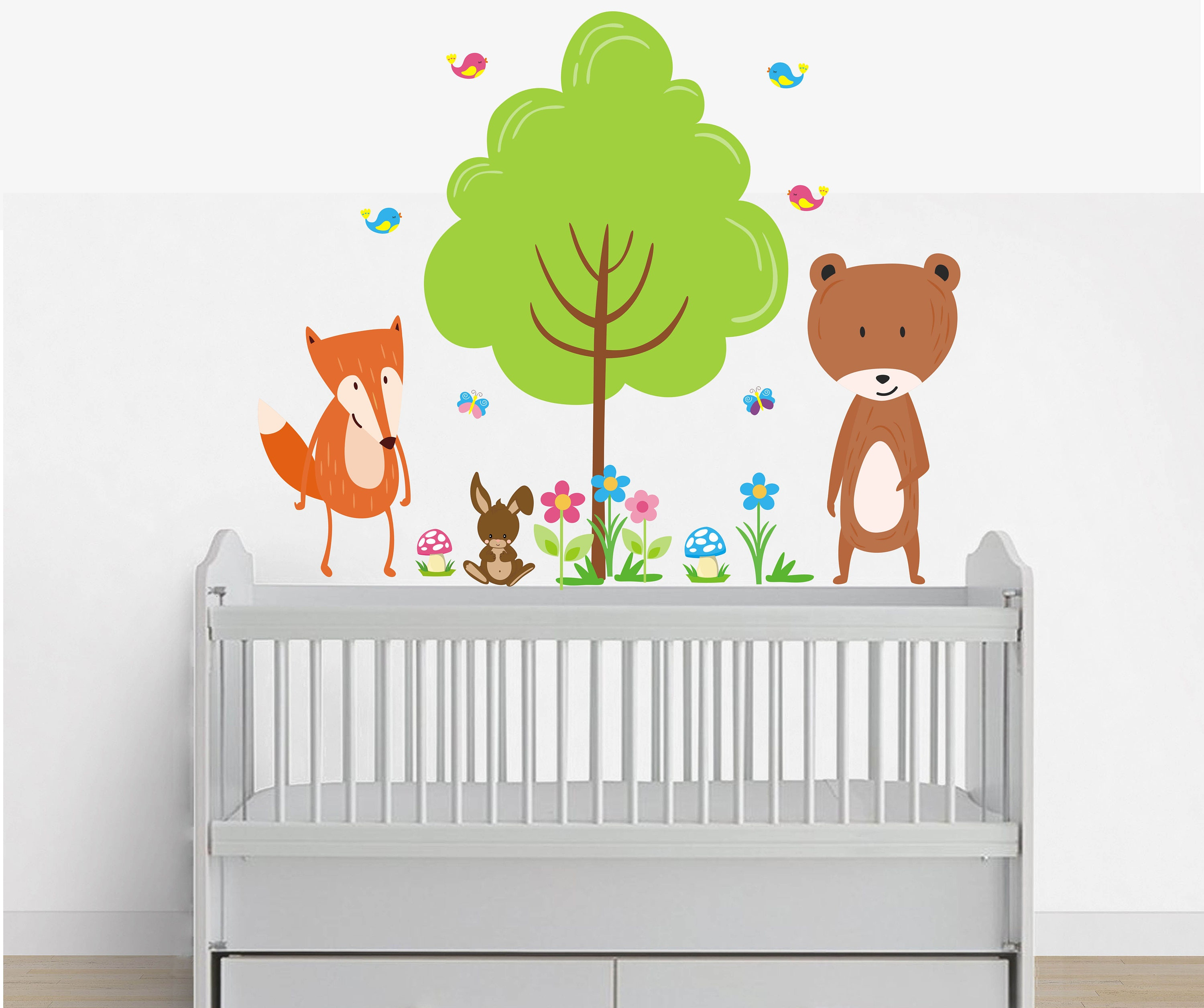 Forest Wall Decals - Woodland Wall Decals - Forest Animal Decals - Fox Decal - Bear  sc 1 st  shopping Trendy Fashion Womens u0026 Mens online Furniture Bedding ... : forest animals nursery wall decals - www.pureclipart.com