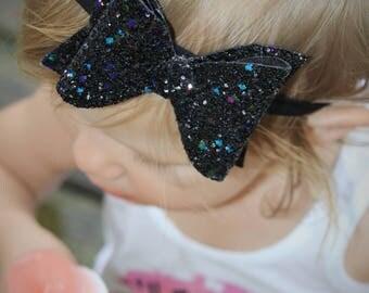 Aurora's Bowtique Black Glitter Bow