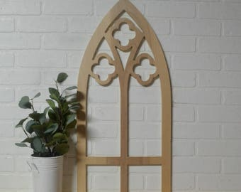 Inspired Old Church Window Frame Wood Cut Out Mantel Decor