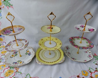 Shelley - Job Lot of 3 Vintage Shabby Chic 3 Tier China Cake Stands