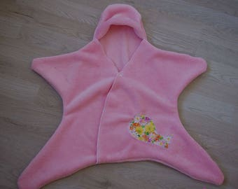 Cover / Pajama baby fleece star embroidered pink Minkee fabric.