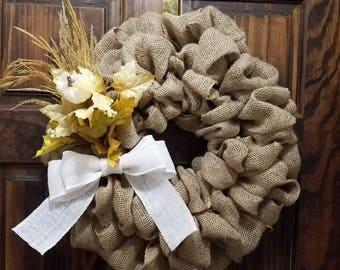 Fall burlap wreath, rustic front door wreath, front door decor, farmhouse wreath, pumpkin wreath