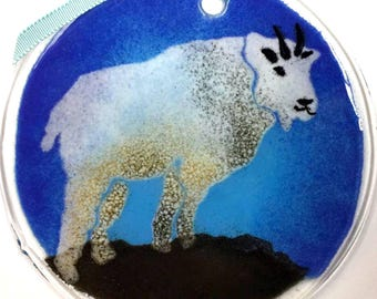 Mountain Goat Enameled fused glass suncatcher