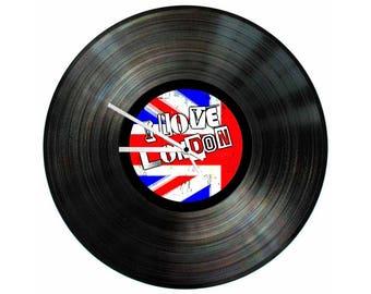 I Love London Vinyl Clock 12 inch