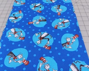 The Cat in the Hat Fabric, Blue, Dr Seuss Fabric, Cat, Hat, Robert Kaufman, Seuss Birthday, Book, Reading, Cotton, Woven, Fabric by the Yard