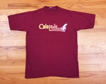 Vintage 80s 1982 Colorado Bald Eagle T Shirt Poly Cotton Soft Thin Single Stitch Size Medium M