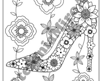 Women's shoe printable coloring page