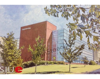 Southern Illinois University Edwardsville Engineering LIMITED EDITION Pen and Ink and Watercolor Art Print Illustration - Graduation Gift
