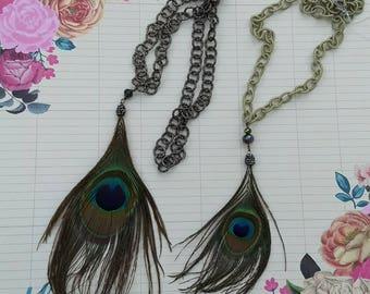 Original Collar pluma de Pavo Real, hecho a mano con diferentes estilos. Original Necklace with peacock feather, handmade different styles