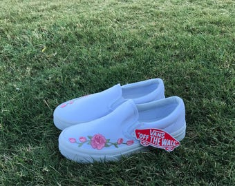 Rose Embroidered Vans