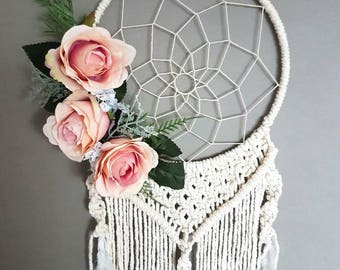 Girly dream catcher, nursery macrame, wall hanging, pink macrame, boho decor, boho nusrey, gypsy decor, bohemian nursery, boho wedding, boho