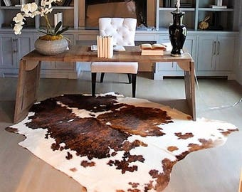 New Cowhide Rug Pure Cow Hide Tricolor Brown Black And White Cow Skin Exotic