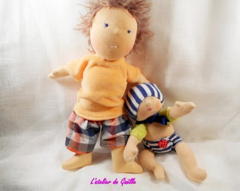 James, 25 cm and her baby doll Waldorf doll