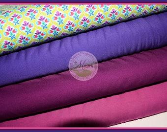 Flora flower flowers Kunterbunter turquoise purple fabric package Jersey fabric bundle Mjanistoffe