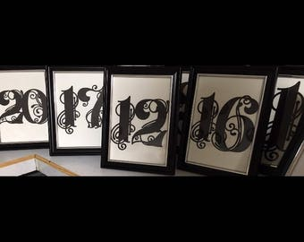 SET OF 10 Framed Wedding Table Numbers
