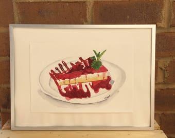 Original watercolor dessert painting