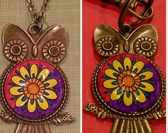 Vintage Tibetan Style Owl Necklace or Keychain - Antique Bronze