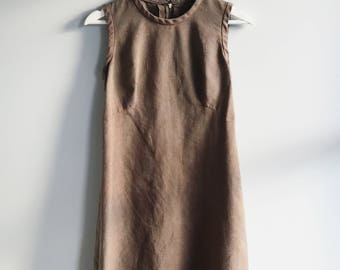 vintage 1960's Linen dress custom hand-dyed color (chocolate / coffee) eco-friendly & sustainable