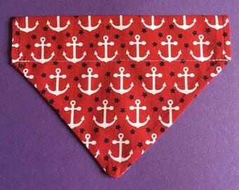 Red Anchor dog bandana MEDIUM