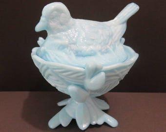 Vintage Bird on Twig Nest Blue Milk Glass Westmoreland ? Unmarked