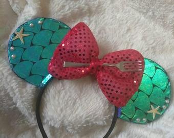 FREE SHIPPING * Little Mermaid Ears, Minnie Ears, Ariel Mickey Ears, Ariel Ears, Ariel Minnie Ears, Mouse Ears, Disney Ears, Mickey Ears