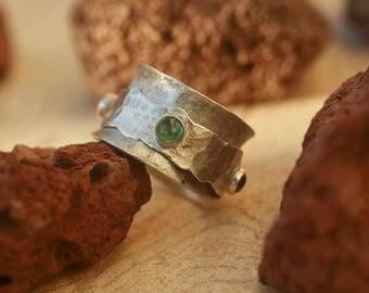 Silver spinner ring, Meditation Ring, Fidget ring, Tourmaline Silver ring , Spinner ring,gemstone band ring