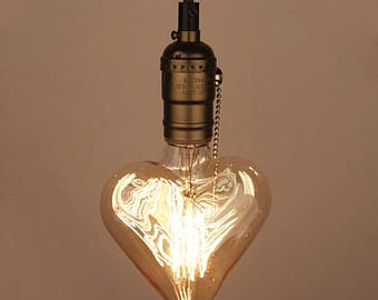 Edison Light Bulb Heart shaped E27 Squirrel Cage Filament Vintage Industrial Style 110V - 220V