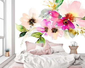 Removable Wallpaper Mural Peel & Stick Flowers Watercolor Illustration
