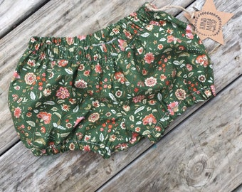 Baby clothing- toddler clothing- baby bloomers- toddler shorts- diaper cover- bloomers- olive