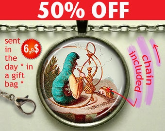 Alice and the Caterpillar pendant, Alice in Wonderland necklace Wonderland pendant Wonderland jewelry keychain N981