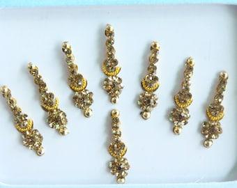 8 Gold Face Bindis Jewels,Wedding Long Bindis Stickers,Stone Bindis,Gold Bindis,India Bindis,Bollywood Bindis,Bindis,Self Adhesive Stickers