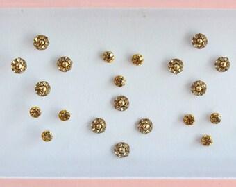 Tiny Small Gold Wedding Round Bindis ,Bridal Gold Bindis,Stone Bindis,Gold Face Jewels Bindis,Bindis,Bollywood Bindis,Self Adhesive Stickers
