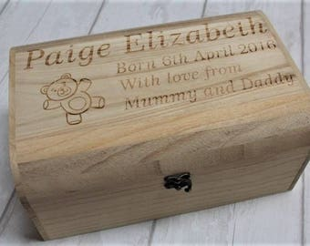 Baby personalised engraved memory box