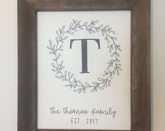 Custom Family Monogram Sign | Personalized Last Name Wood Framed Canvas | Wedding Gift | Housewarming | Anniversary | Farmhouse Decor