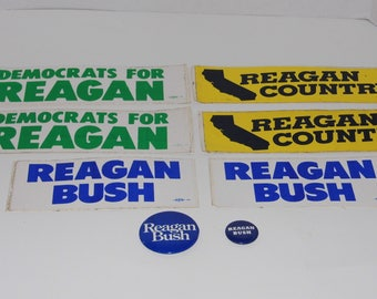 Awesome lot of Americana! 6 campaign bumper stickers and 2 buttons! VOTE Reagan Bush in 1980! Ships Priority Mail World Wide!