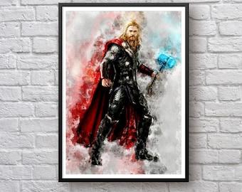 Thor Odinson Watercolor Print, Thor Movie Poster, Marvel Fan Art Giclee Art Children's Wall Art Birthday Gift Super hero Print Children Gift